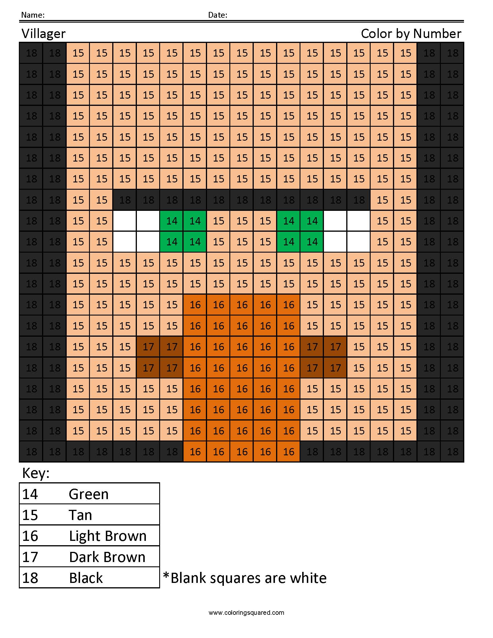 14CN Villager minecraft color by number - Coloring Squared