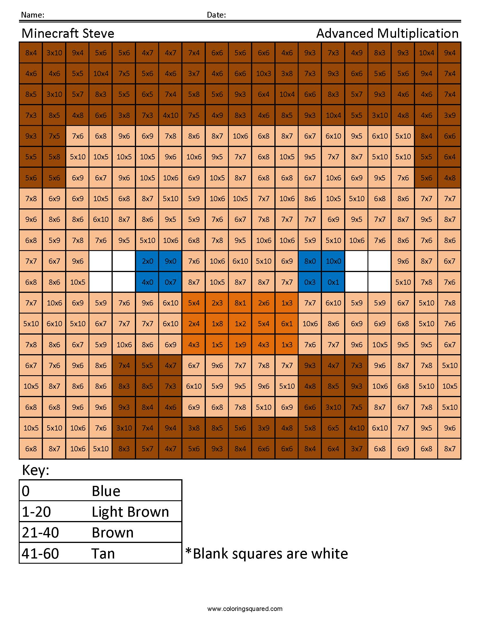 Minecraft Multiplication and Division - Coloring Squared