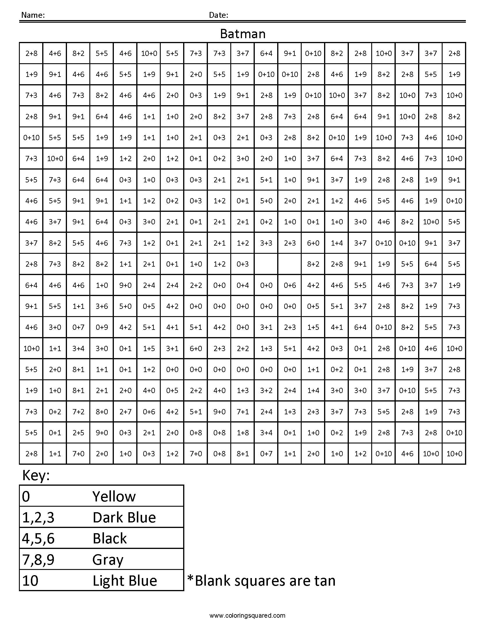 math worksheet second grade