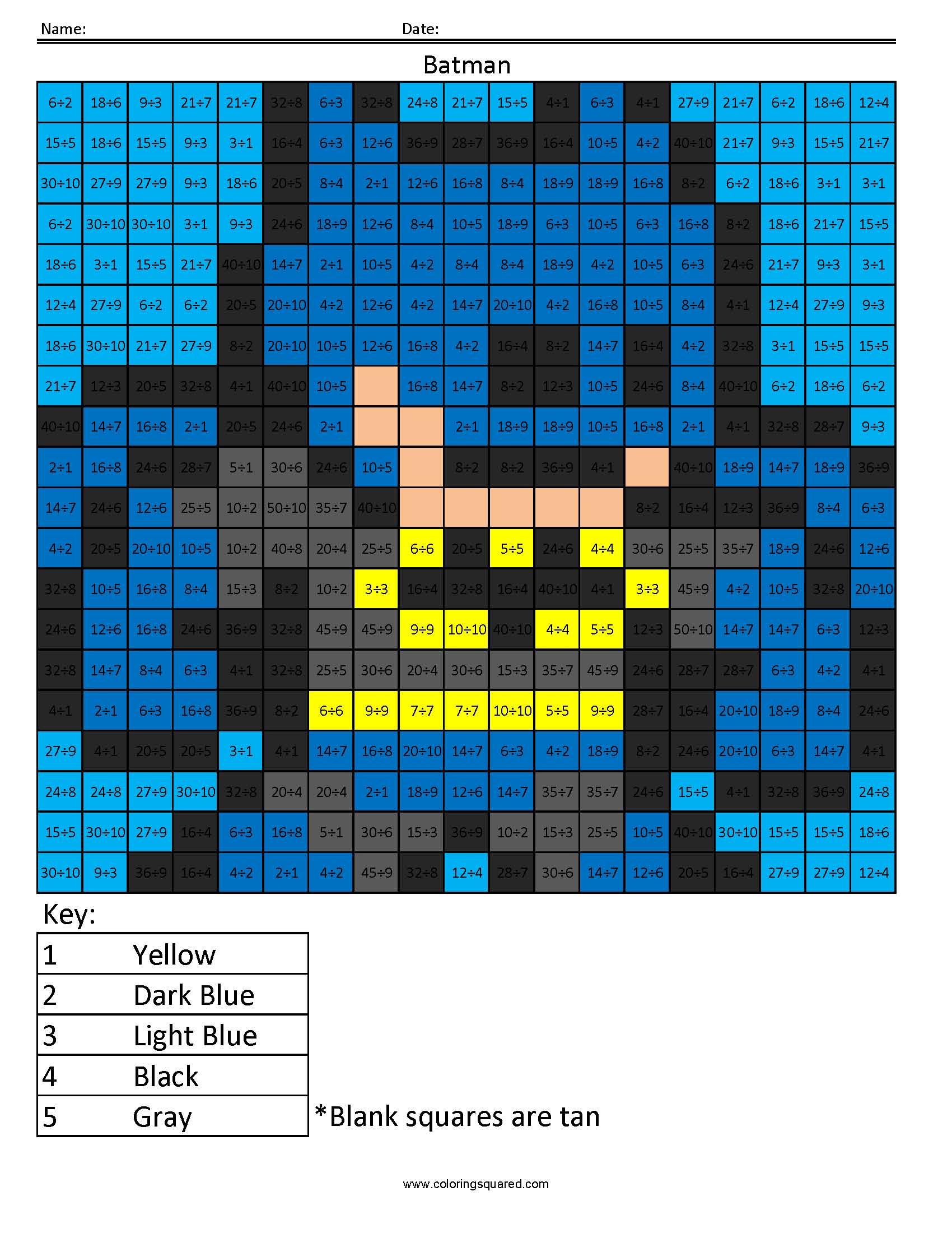 Batman- Basic Division – Coloring Squared