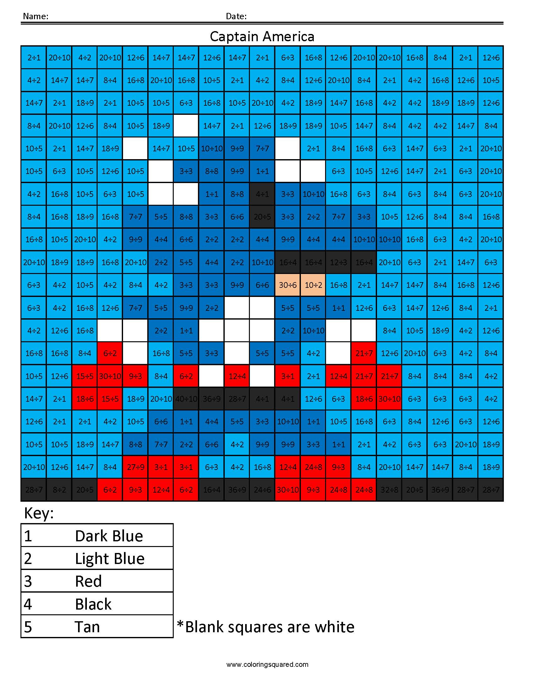 Captain America Division math facts - Coloring Squared