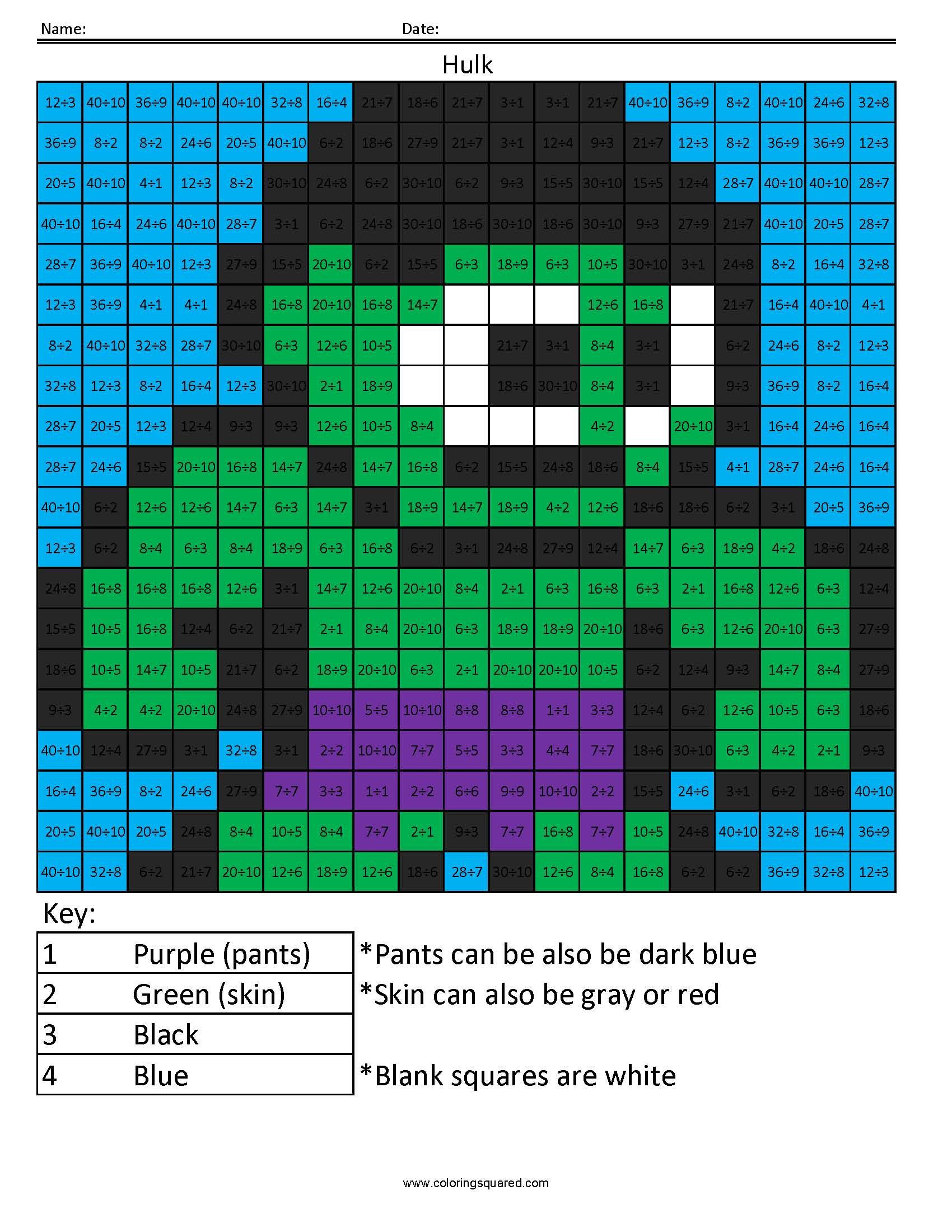 Hulk- Basic Division - Coloring Squared