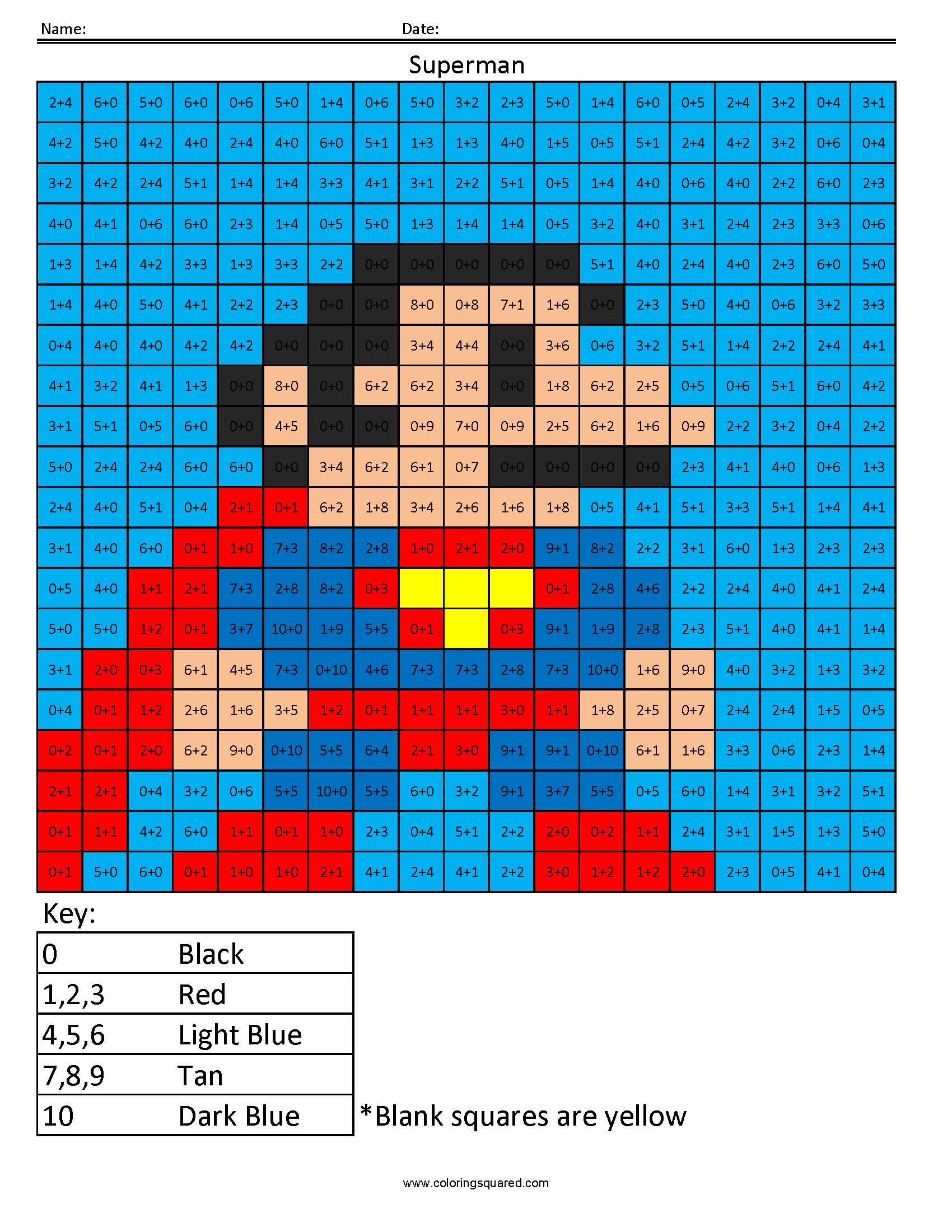 Superman- Addition - Coloring Squared
