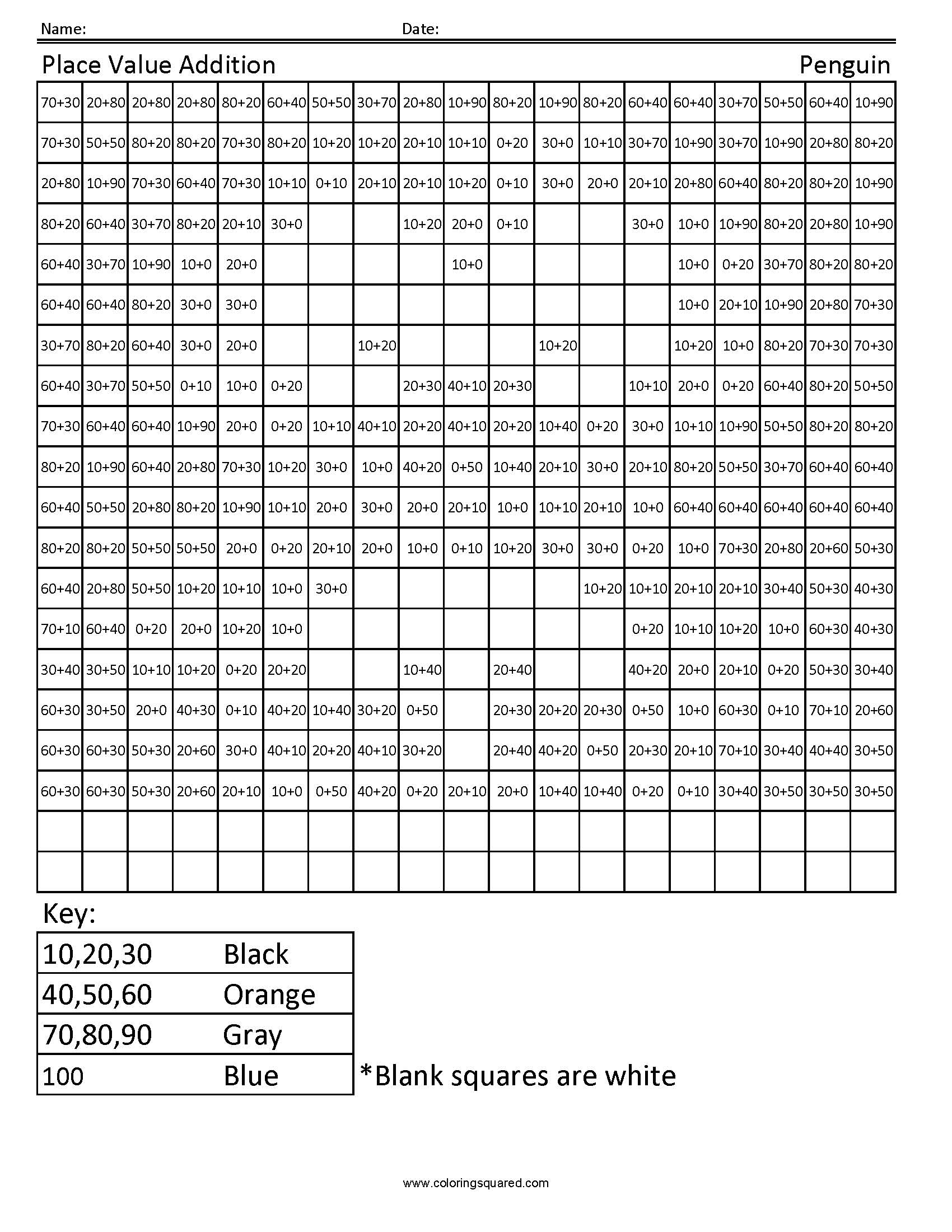 Worksheet Place Value For 1st Grade 1g32 place value adding penguin first grade math coloring squared image information
