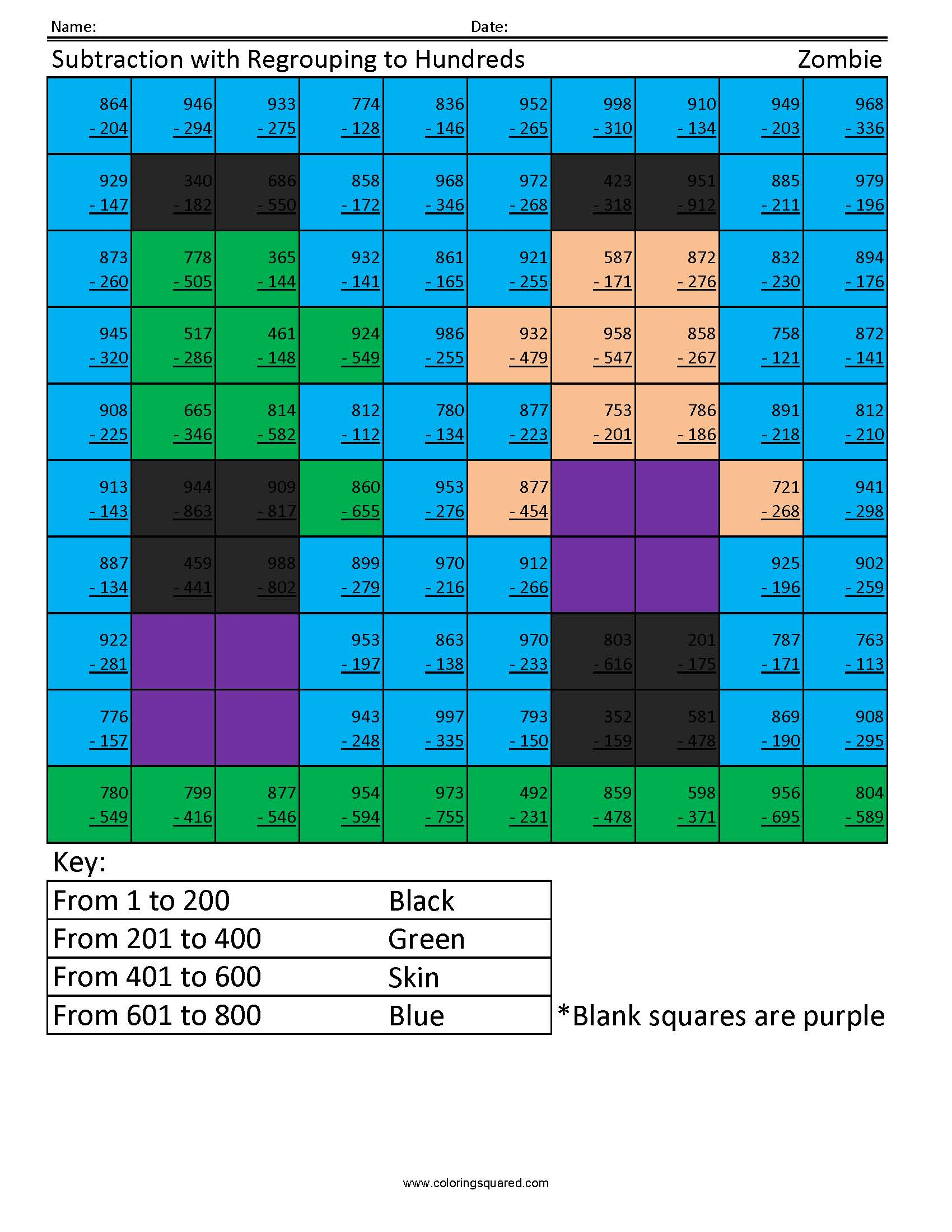 3rd grade math coloring squared. Black Bedroom Furniture Sets. Home Design Ideas