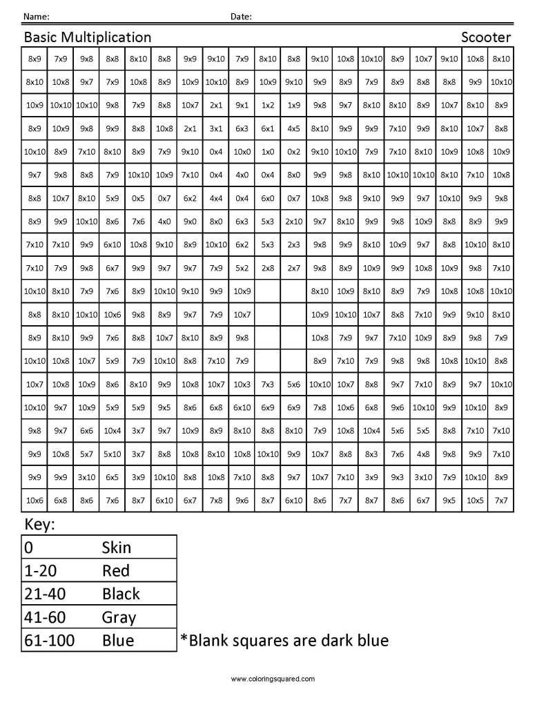 3g9 scooter multiplication third grade math coloring squared. Black Bedroom Furniture Sets. Home Design Ideas