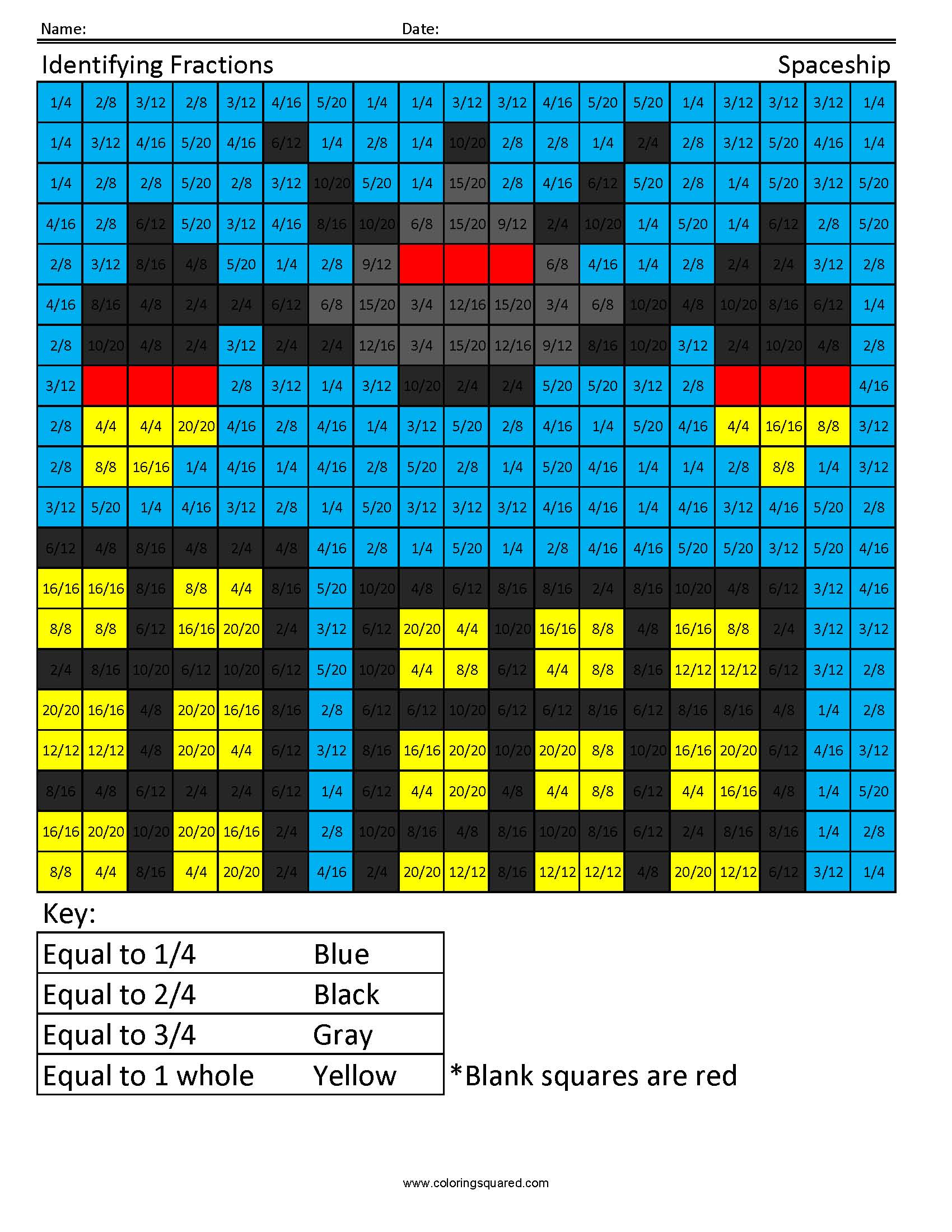 3G38 Fraction Spaceship third grade math - Coloring Squared