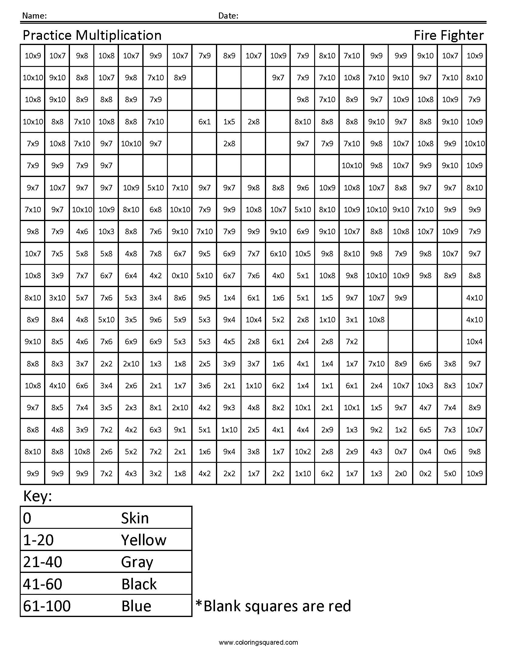 Worksheet 4th Grade Math Facts 4g1 multiplication firefighter 4th grade math coloring squared image information