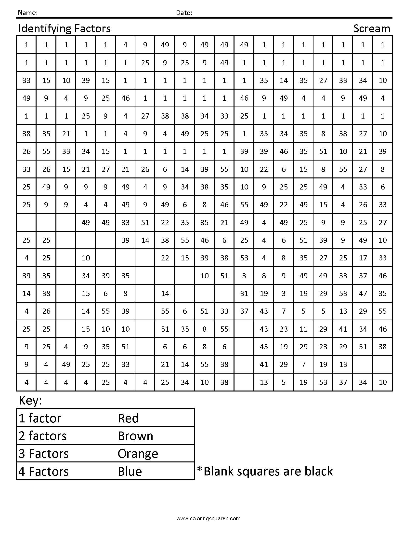 4g24 Factors Scream 4th Grade Math Coloring Squared