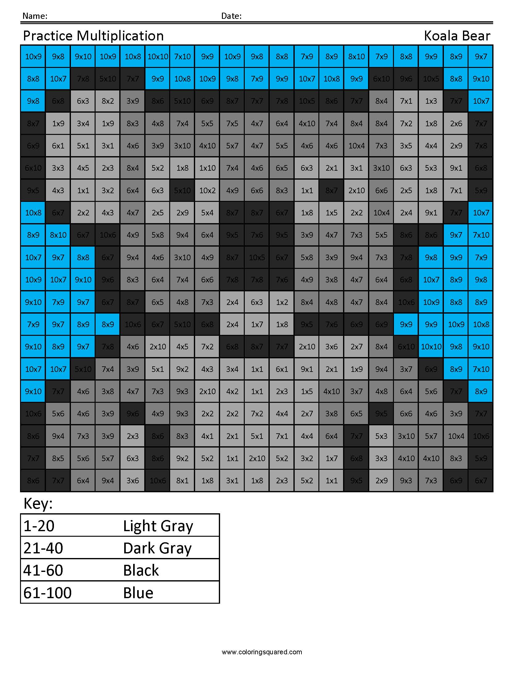 Practice Multiplication- Koala Bear - Coloring Squared
