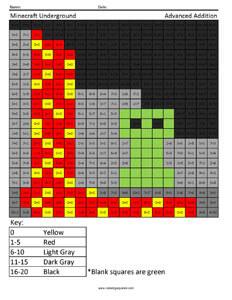 Minecraft Underground- Advanced Addition math facts