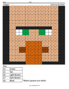 Minecraft Color By Number Coloring Squared