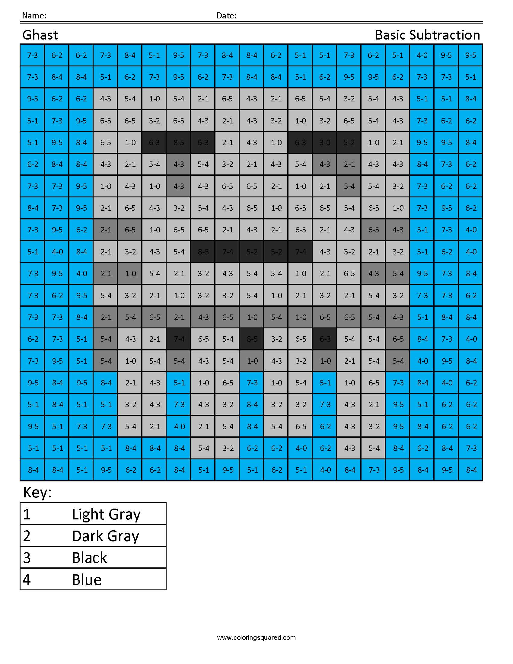 Ghast- Basic Subtraction - Coloring Squared