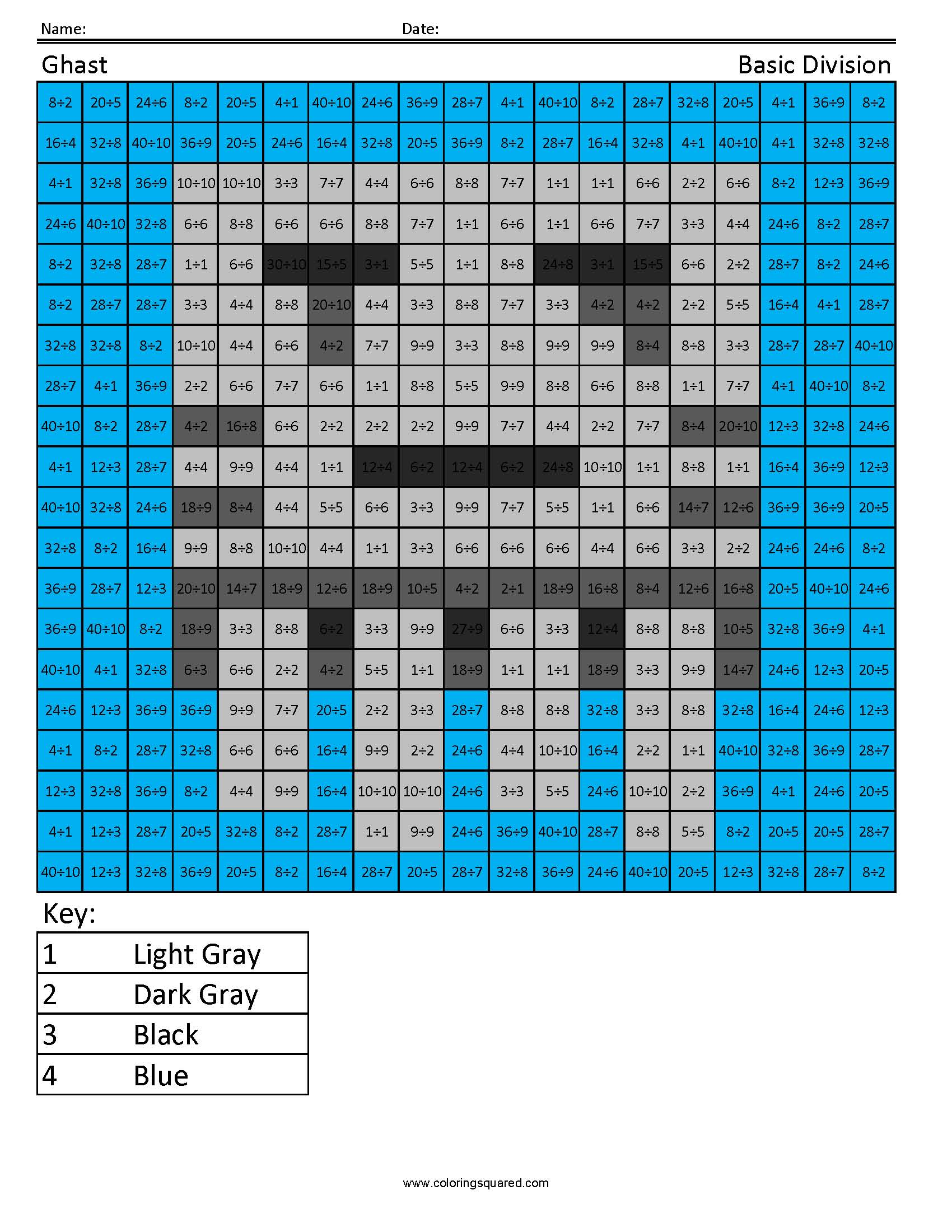 Ghast- Basic Division - Coloring Squared