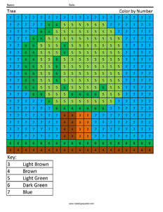 Tree Minecraft color by number Coloring Page