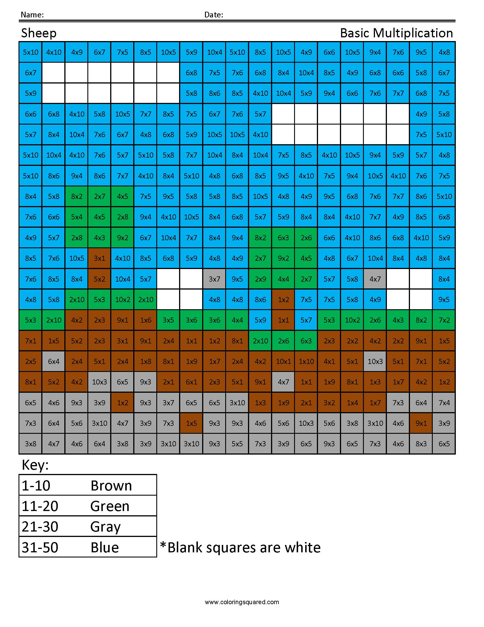 Sheep Scene- Basic Multiplication - Coloring Squared