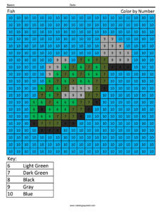 Minecraft Raw Fish- Color by Number Coloring Pages