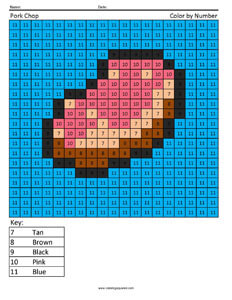 Minecraft Pork Chop- Color by Number Coloring Pages