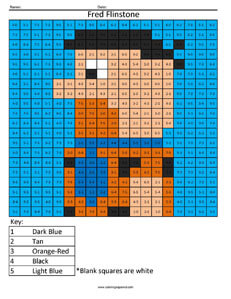 Fred Flinstone- Basic Subtraction Cartoon Coloring
