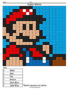 Super Mario- Basic Subtraction Nintendo coloring page