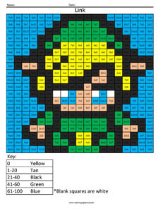 Link- Advanced Multiplication Nintendo coloring page