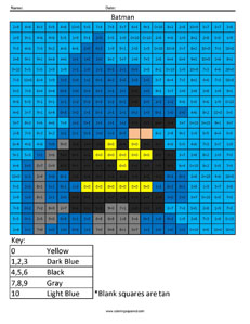 Batman- Addition math facts comic book superhero