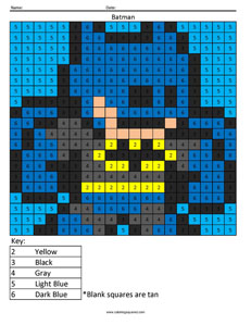 Batman- Color by Number superhero coloring activity