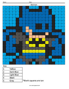 Batman- Subtraction math facts comic book superhero