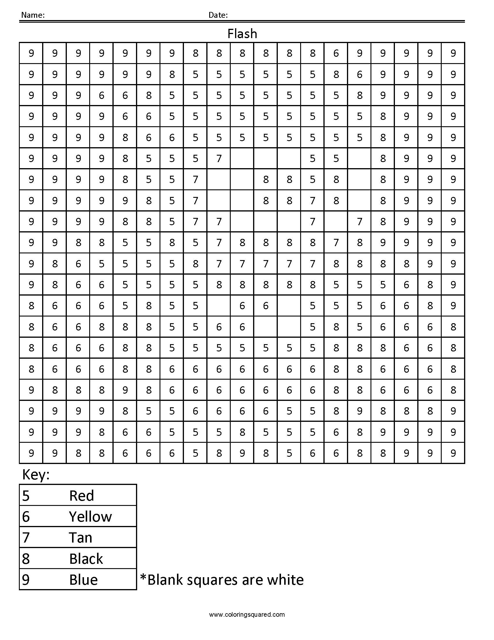 Color By Number Squares Sheets Coloring Pages