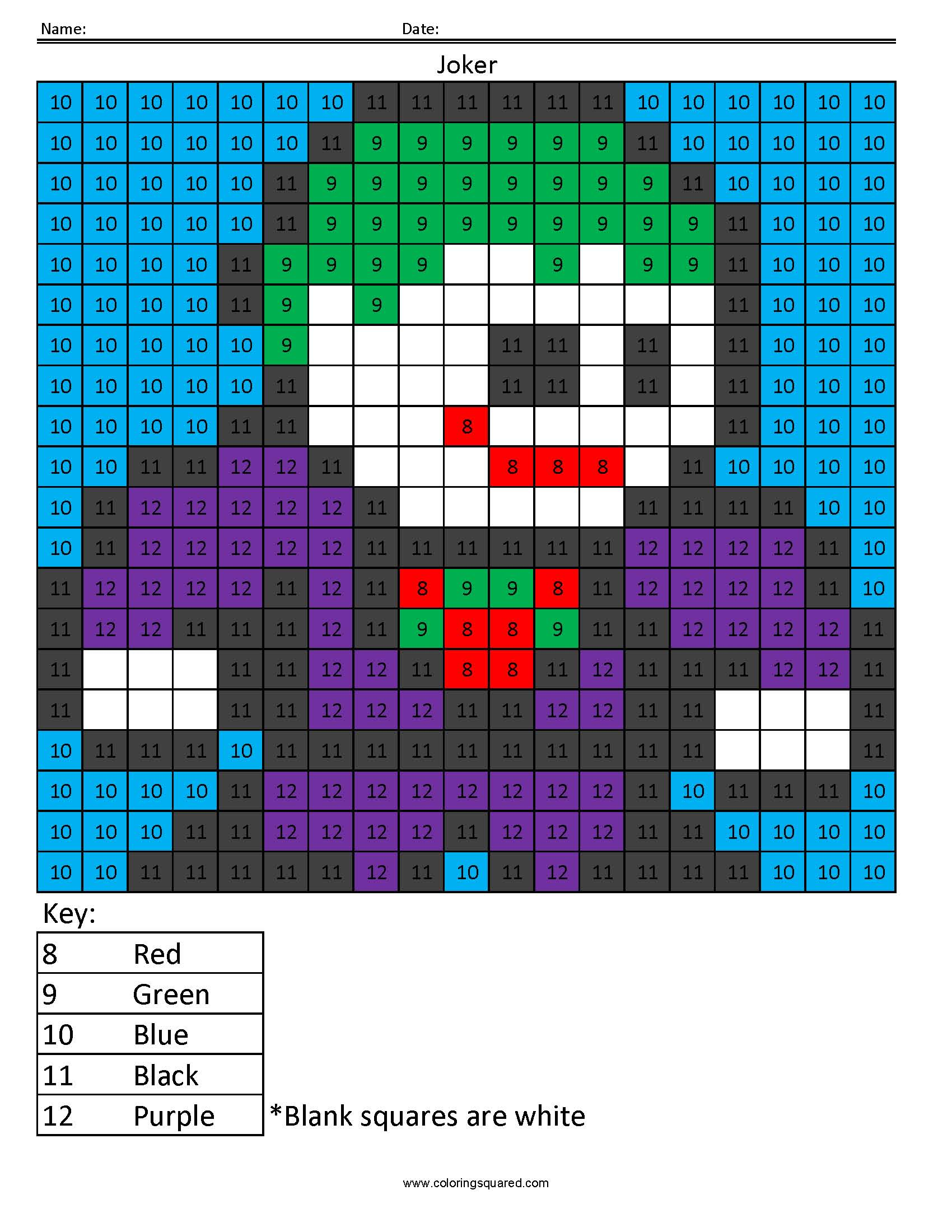 Joker Color By Number Superhero Activity Coloring Squared