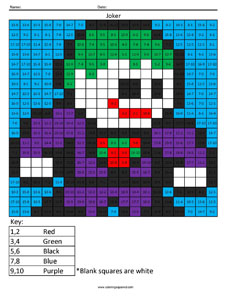 Joker- Subtraction math facts comic book superhero