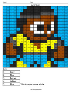 Luke Cage- Subtraction math facts comic book superhero