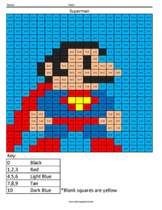 Superman- Addition math facts comic book superhero