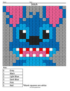 Stitch- Practice Subtraction Disney coloring math facts