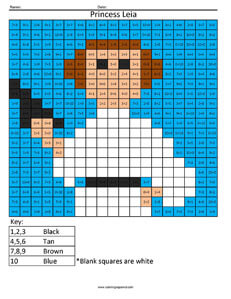 Princess Leia- Practice Subtraction Star Wars coloring activity