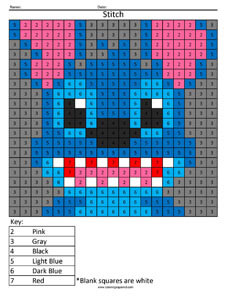 Stitch- Color by Number Disney coloring math facts