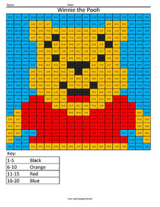 Winnie the Pooh- Practice Addition Disney coloring math facts