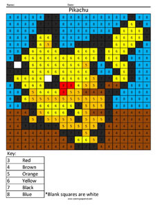 Pikachu- Color by Number Nintendo Pokemon