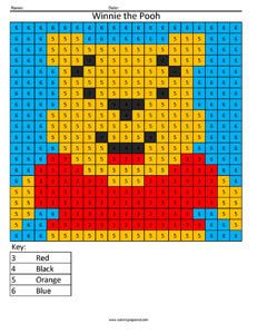 Winnie the Pooh- Color by Number Disney coloring math facts