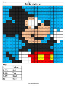Mickey Mouse- Practice Addition Disney coloring math facts