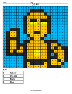 C-3PO- Color by Number Star Wars coloring activity