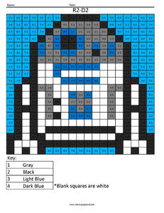 R2-D2- Practice Addition Star Wars coloring activity