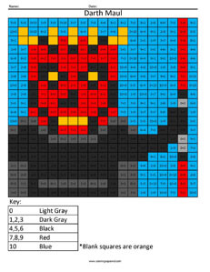 Darth Maul- Practice Addition Star Wars coloring activity
