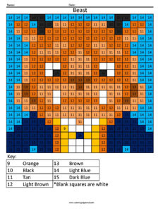 Beast- Color by Number Disney coloring math facts