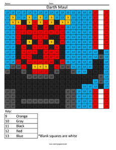Darth Maul- Color by Number Star Wars coloring activity