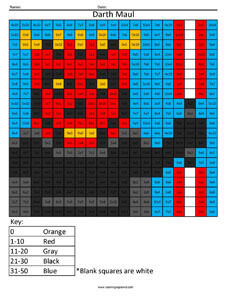 Darth Maul- Practice Division Star Wars coloring activity