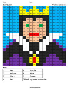 Evil Queen- Practice Division Disney coloring math facts