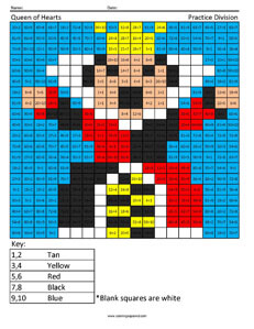 Queen of Hearts- Practice Division Disney coloring math facts