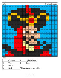 Jafar- Practice Division Disney coloring math facts