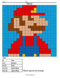 Retro Mario- Practice Addition Nintendo 3ds coloring page